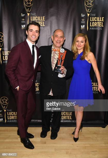 Corey Cott David Dorfman and Christy Altomare pose backstage at 32nd Annual Lucille Lortel Awards at NYU Skirball Center on May 7 2017 in New York...