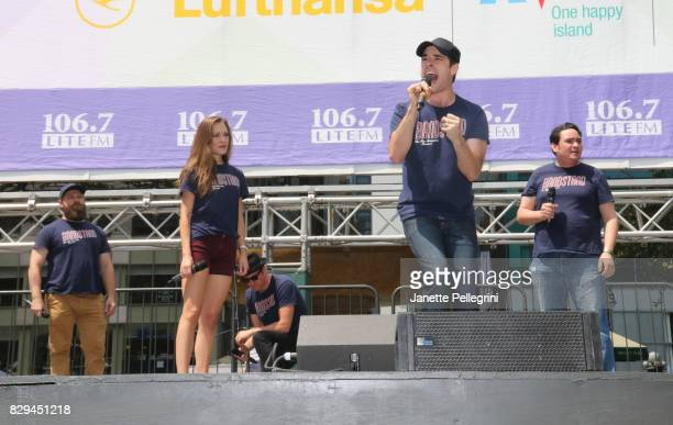 Corey Cott from the cast of 'Bandstand' performs at 1067 Lite FM's Broadway In Bryant Park 2017 on August 10 2017 in New York City