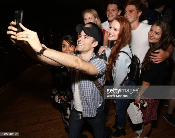 Corey Cott with Marisol Nichols Lili Reinhart Madelaine Petsch Casey Cott KJ Apa and Rachel Matthews backstage at Broadway's 'Bandstand' at the...