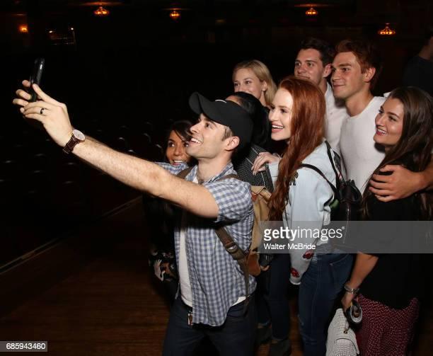 Corey Cott with Marisol Nichols Lili Reinhart Madelaine Petsch Casey Cott KJ Apa and Rachel Matthews backstage at Broadway's 'Bandstand' at the...