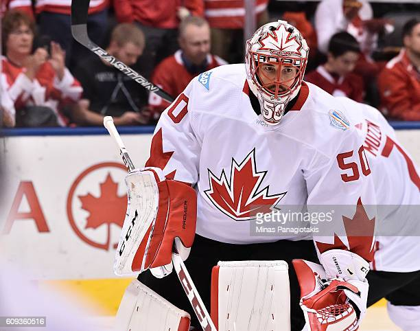 Corey Crawford of Team Canada warms up prior to a game against Team USA during the World Cup of Hockey 2016 at Air Canada Centre on September 20 2016...