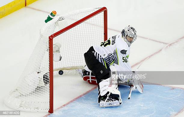Corey Crawford of the Chicago Blackhawks and Team Toews gives up a goal during the 2015 Honda NHL AllStar Game at Nationwide Arena on January 25 2015...