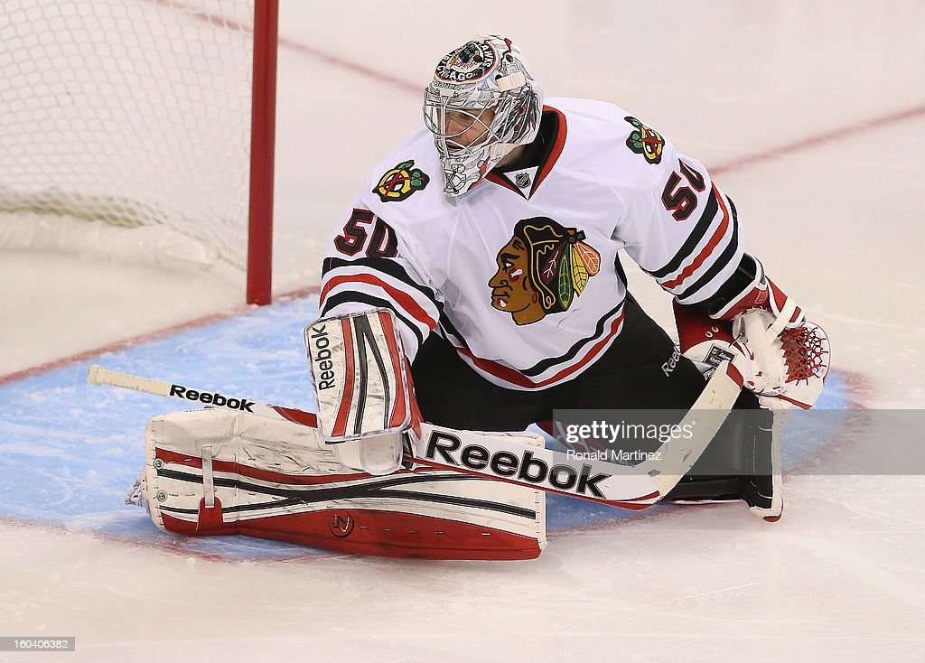 Corey Crawford #50 of the Chicago Blackhawks at American Airlines Center on January 24, 2013 in Dallas, Texas.