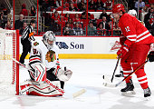 Corey Crawford of the Chicago Blackhawks blocks a shot from Eric Staal of the Carolina Hurricanes during their NHL game at PNC Arena on March 23 2015...