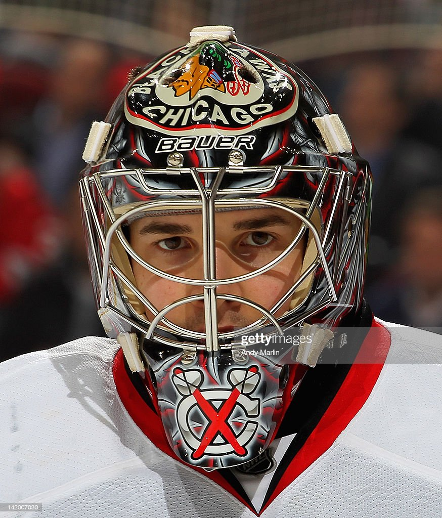 Corey Crawford #50 of the Chicago Blackhawks looks on against the New Jersey Devils during the game at the Prudential Center on March 27, 2012 in Newark, New Jersey.