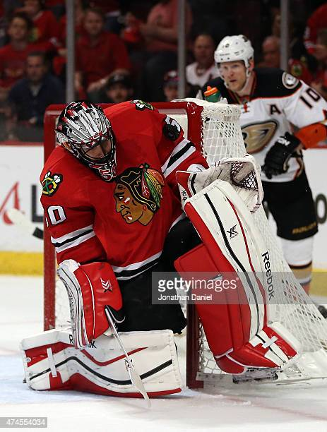 Corey Crawford of the Chicago Blackhawks makes a save against the Anaheim Ducks in the first period of Game Four of the Western Conference Finals...