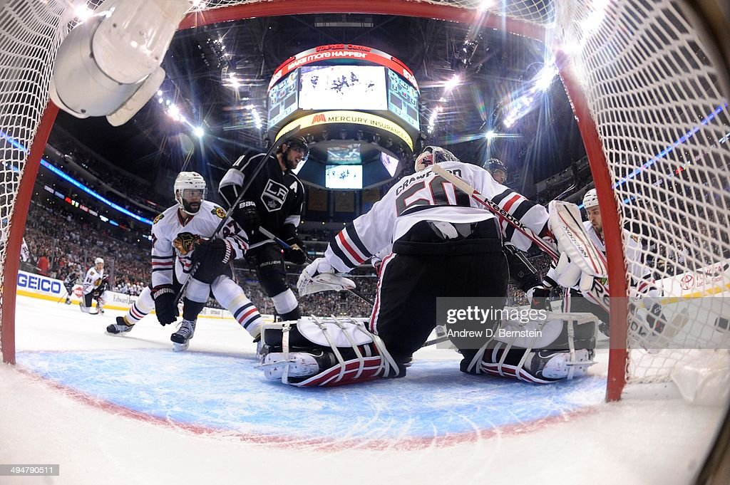 Corey Crawford #50 of the Chicago Blackhawks makes the save against the Los Angeles Kings in Game Six of the Western Conference Final during the 2014 Stanley Cup Playoffs at Staples Center on May 30, 2014 in Los Angeles, California.