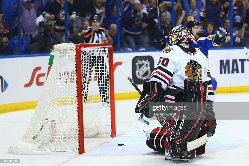 <a gi-track='captionPersonalityLinkClicked' href=/galleries/search?phrase=Corey+Crawford&family=editorial&specificpeople=818935 ng-click='$event.stopPropagation()'>Corey Crawford</a> #50 of the Chicago Blackhawks reacts after allowing a goal against the St. Louis Blues in Game Five of the Western Conference First Round during the 2016 NHL Stanley Cup Playoffs at the Scottrade Center on April 21, 2016 in St. Louis, Missouri.
