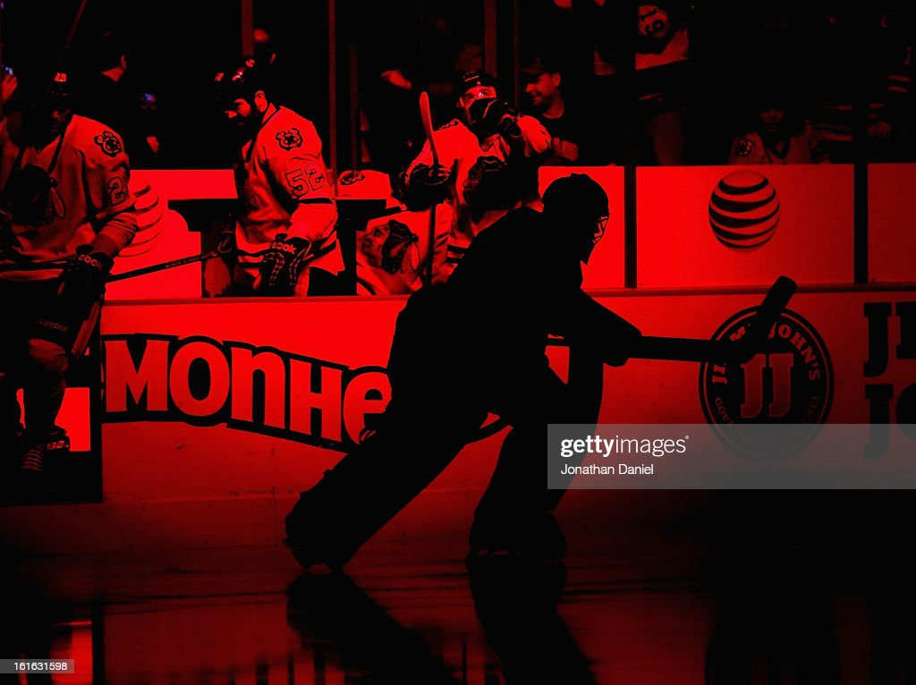 <a gi-track='captionPersonalityLinkClicked' href=/galleries/search?phrase=Corey+Crawford&family=editorial&specificpeople=818935 ng-click='$event.stopPropagation()'>Corey Crawford</a> #50 of the Chicago Blackhawks skates onto the ice during player introductions before a game against the Anaheim Ducks at the United Center on February 12, 2013 in Chicago, Illinois. The Ducks defeated the Blackhawks 3-2 in a shootout.