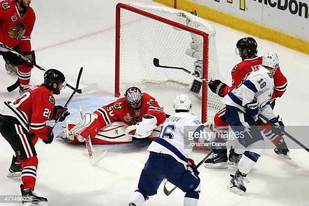 Corey Crawford of the Chicago Blackhawks tends goal against Nikita Kucherov of the Tampa Bay Lightning during Game Six of the 2015 NHL Stanley Cup...