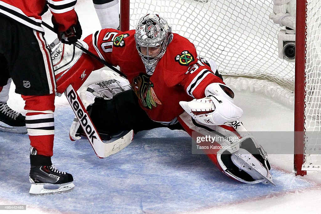 Corey Crawford #50 of the Chicago Blackhawks tends goal against the Los Angeles Kings during Game Seven of the Western Conference Final in the 2014 Stanley Cup Playoffs at United Center on June 1, 2014 in Chicago, Illinois.