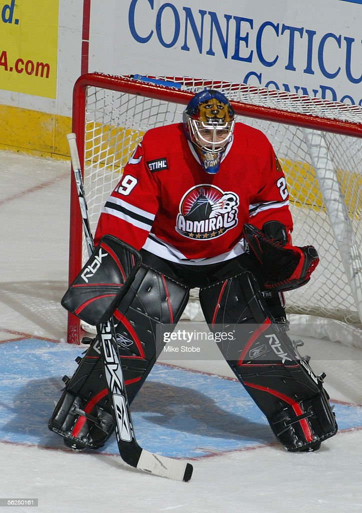 Corey Crawford of the Norfolk Admirals stands in the crease during the game with the Bridgeport Sound Tigers November 2 2005 in Bridgeport...