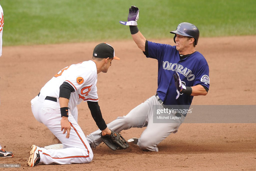 Corey Dickerson #6 of the Colorado Rockies takes second base on a wild pitch against <a gi-track='captionPersonalityLinkClicked' href=/galleries/search?phrase=Ryan+Flaherty&family=editorial&specificpeople=4412528 ng-click='$event.stopPropagation()'>Ryan Flaherty</a> #3 of the Baltimore Orioles in the sixth inning during a baseball game on August 18, 2013 at Oriole Park at Camden Yards in Baltimore, Maryland. The Orioles won 7-2.