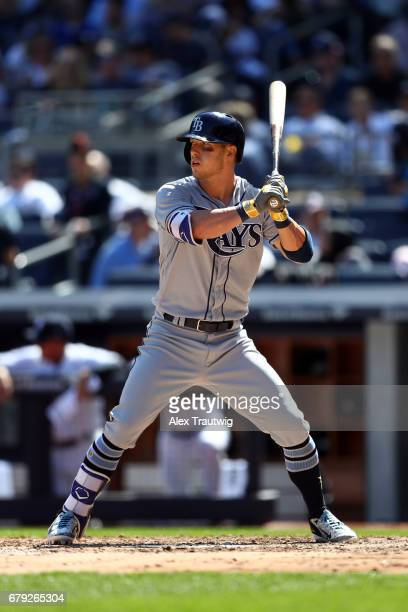 Corey Dickerson of the Tampa Bay Rays bats during the game against the New York Yankees at Yankee Stadium on Monday April 10 2017 in the Bronx...