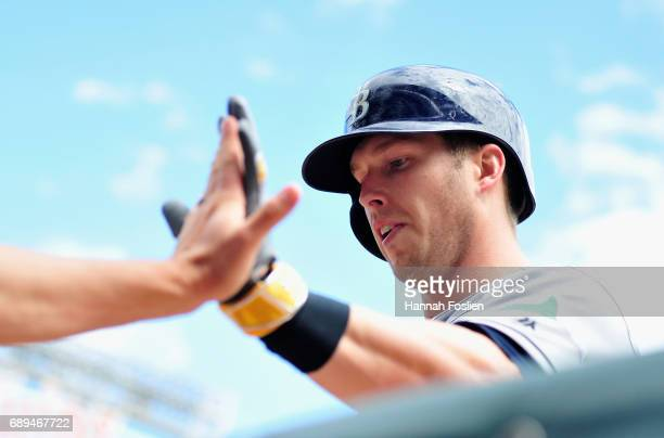 Corey Dickerson of the Tampa Bay Rays celebrates scoring a run against the Minnesota Twins during the fifth inning of the game on May 28 2017 at...