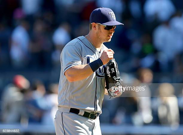 Corey Dickerson of the Tampa Bay Rays celebrates the 81 win over the New York Yankees at Yankee Stadium on April 24 2016 in the Bronx borough of New...