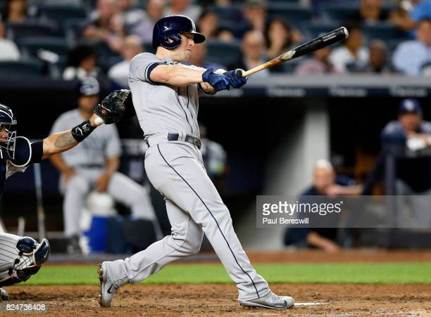 Corey Dickerson of the Tampa Bay Rays hits a home run in the 6th inning in an MLB baseball game against the New York Yankees on July 27 2017 at...