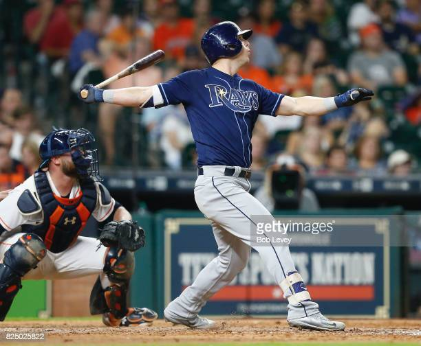 Corey Dickerson of the Tampa Bay Rays hits a home run in the seventh inning against the Houston Astros at Minute Maid Park on July 31 2017 in Houston...