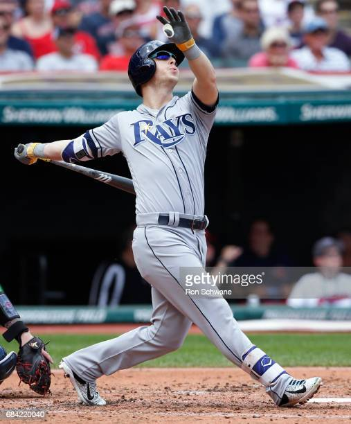 Corey Dickerson of the Tampa Bay Rays hits a three run home run off Josh Tomlin of the Cleveland Indians during the second inning at Progressive...