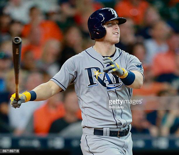 Corey Dickerson of the Tampa Bay Rays hits a threerun home run in the eighth inning against the Houston Astros at Minute Maid Park on August 28 2016...