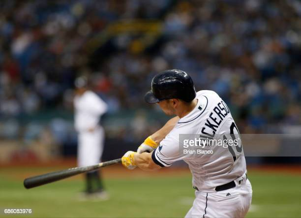 Corey Dickerson of the Tampa Bay Rays hits a threerun home run off of pitcher Masahiro Tanaka of the New York Yankees during the fourth inning of a...