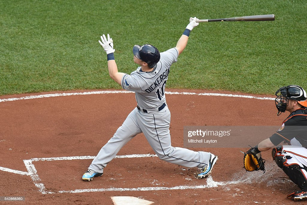 <a gi-track='captionPersonalityLinkClicked' href=/galleries/search?phrase=Corey+Dickerson+-+Baseball+Left+Fielder&family=editorial&specificpeople=15425201 ng-click='$event.stopPropagation()'>Corey Dickerson</a> #10 of the Tampa Bay Rays hits a two run home run in the first inning during a baseball game against the Baltimore Orioles at Oriole Park at Camden Yards on June 24, 2016 in Baltimore, Maryland.