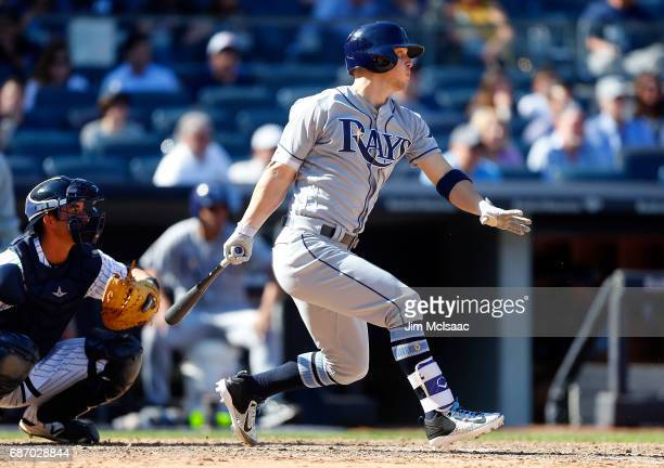 Corey Dickerson of the Tampa Bay Rays in action against the New York Yankees on Opening Day at Yankee Stadium on April 10 2017 in the Bronx borough...