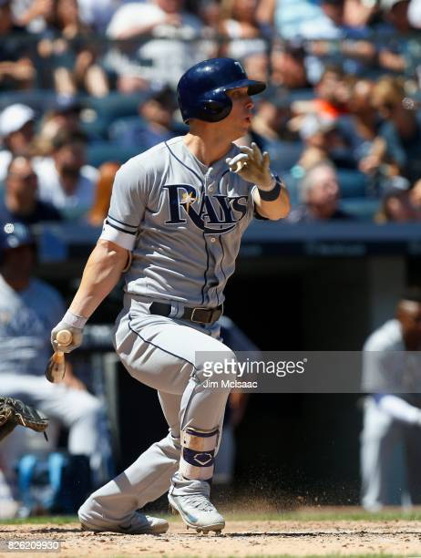 Corey Dickerson of the Tampa Bay Rays in action against the New York Yankees at Yankee Stadium on July 30 2017 in the Bronx borough of New York City...