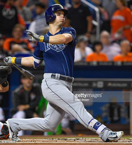 Corey Dickerson of the Tampa Bay Rays in action during the game between the Miami Marlins and the Tampa Bay Rays at Marlins Park on May 1 2017 in...