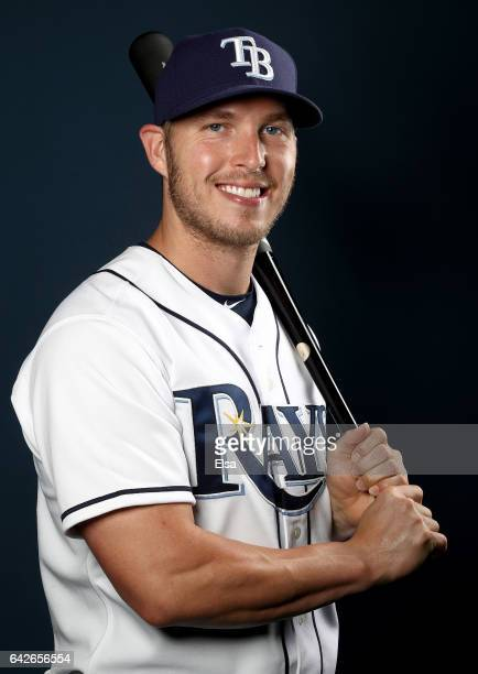 Corey Dickerson of the Tampa Bay Rays poses for a portrait during the Tampa Bay Rays photo day on February 18 2017 at Charlotte Sports Park in Port...