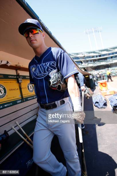 Corey Dickerson of the Tampa Bay Rays stands in the dugout prior to the game against the Oakland Athletics at the Oakland Alameda Coliseum on July 19...