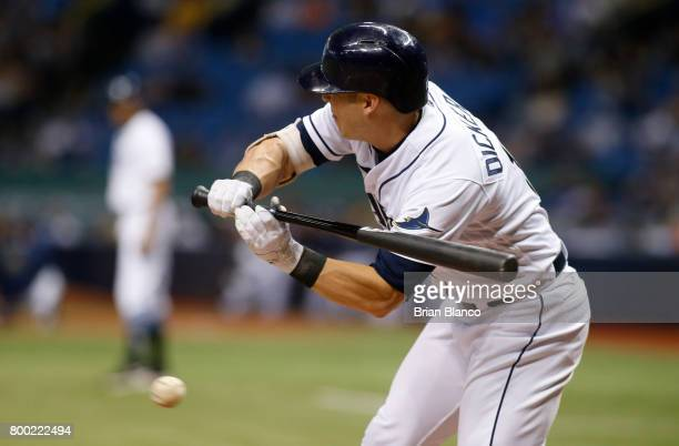 Corey Dickerson of the Tampa Bay Rays strikes out swinging on a check swing to end the sixth inning of a game against the Baltimore Orioles on June...
