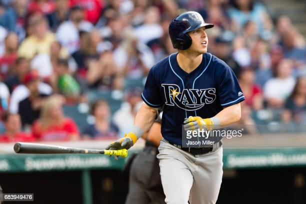 Corey Dickerson of the Tampa Bay Rays watches a solo home run clear the center field wall during the fifth inning against the Cleveland Indians at...