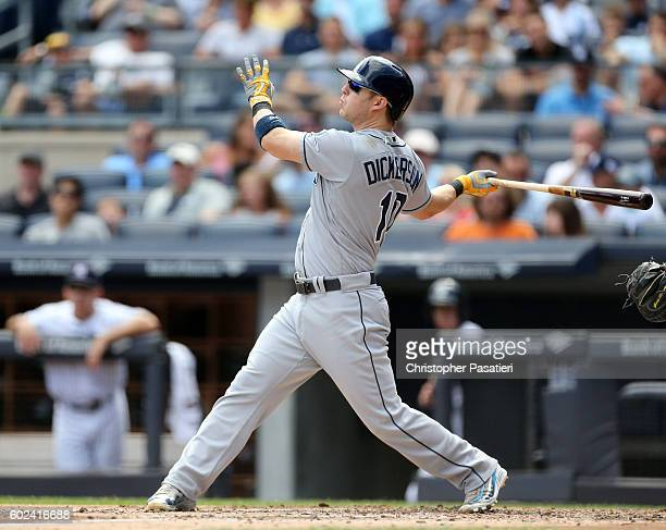 Corey Dickerson of the Tampa Bay Rays watches his two run homer during the top of the second inning against the New York Yankees on September 11 2016...