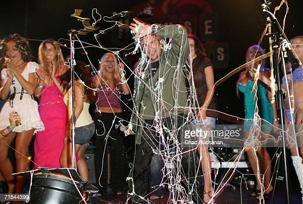 Corey Feldman gets sprayed with 'Silly String' during his performance with 'Truth Movement' at his 35th Birthday Bash at the House of Blues on July...