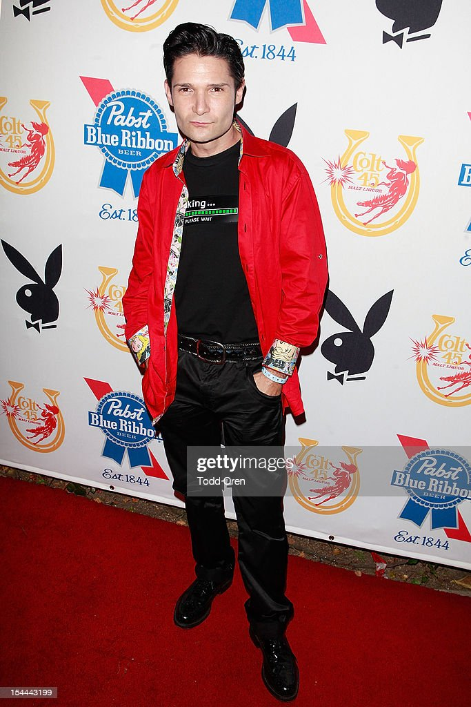 <a gi-track='captionPersonalityLinkClicked' href=/galleries/search?phrase=Corey+Feldman&family=editorial&specificpeople=175941 ng-click='$event.stopPropagation()'>Corey Feldman</a> poses at the Snoop Dogg Presents: Colt 45 Works Every Time at The Playboy Mansion Party with Evan and Daren Metropulos on October 19, 2012 in Beverly Hills, California.