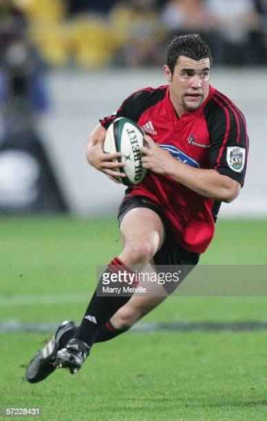 Corey Flynn of the Crusaders runs with the ball during the round eight Super 14 match between the Hurricanes and the Crusaders at the Westpac Stadium...