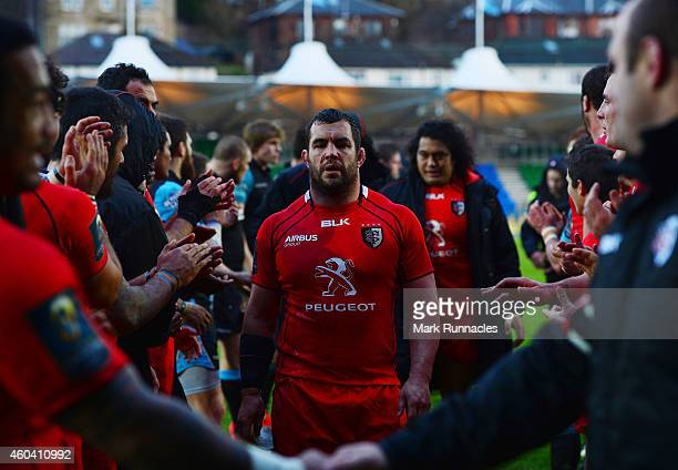 Corey Flynn of Toulouse walks from the pitch at the end of the European Rugby Champions Cup Pool 4 match between Glasgow Warriors and Toulouse at...