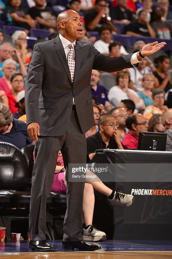 Corey Gaines head coach of the Phoenix Mercury calls a play during the game against the Minnesota Lynx on June 19, 2013 at U.S. Airways Center in Phoenix, Arizona.