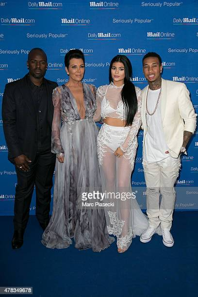 Corey Gamble Kris Jenner Kylie Jenner and Tyga attend the 'DailyMailcom Seriously Popular Yacht Party' on June 24 2015 in Cannes France
