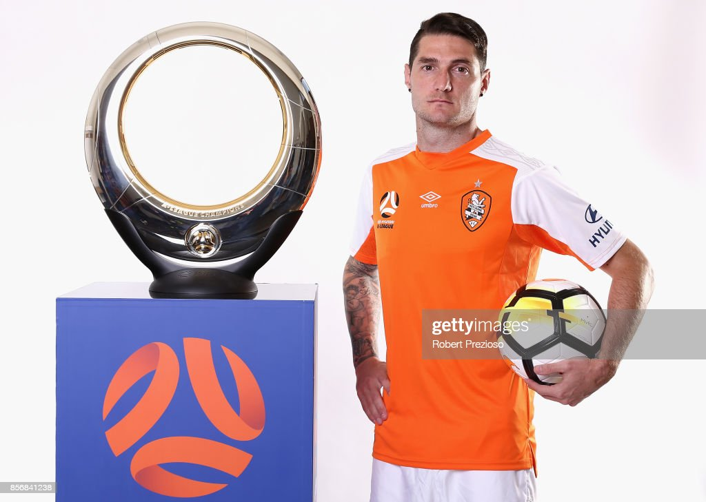 Corey Gameiro of Brisbane Roar poses during the 2017/18 A-League Season Launch at Port Melbourne SC on October 3, 2017 in Melbourne, Australia.
