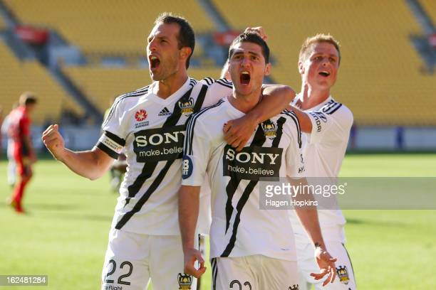 Corey Gameiro of the Phoenix celebrates his goal with teammates Andrew Durante and Ben Sigmund during the round 22 ALeague match between the...