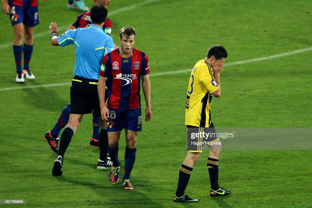Corey Gameiro of the Phoenix shows his disappointment after a missed opportunity during the round 26 A-League match between the Wellington Phoenix and the Newcastle Jets at Westpac Stadium on February 27, 2013 in Wellington, New Zealand.
