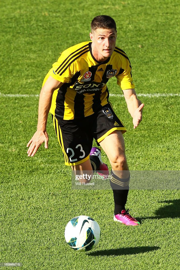 Corey Gameiro of the Wellington Phoenix looks to pass the ball during the round 25 A-League match between the Perth Glory and the Wellington Phoenix at nib Stadium on March 17, 2013 in Perth, Australia.