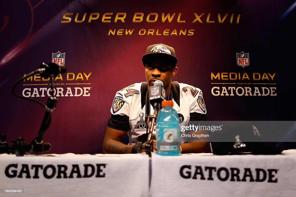 <a gi-track='captionPersonalityLinkClicked' href=/galleries/search?phrase=Corey+Graham&family=editorial&specificpeople=4294650 ng-click='$event.stopPropagation()'>Corey Graham</a> #24 of the Baltimore Ravens answers questions from the media during Super Bowl XLVII Media Day ahead of Super Bowl XLVII at the Mercedes-Benz Superdome on January 29, 2013 in New Orleans, Louisiana. The San Francisco 49ers will take on the Baltimore Ravens on February 3, 2013 at the Mercedes-Benz Superdome.