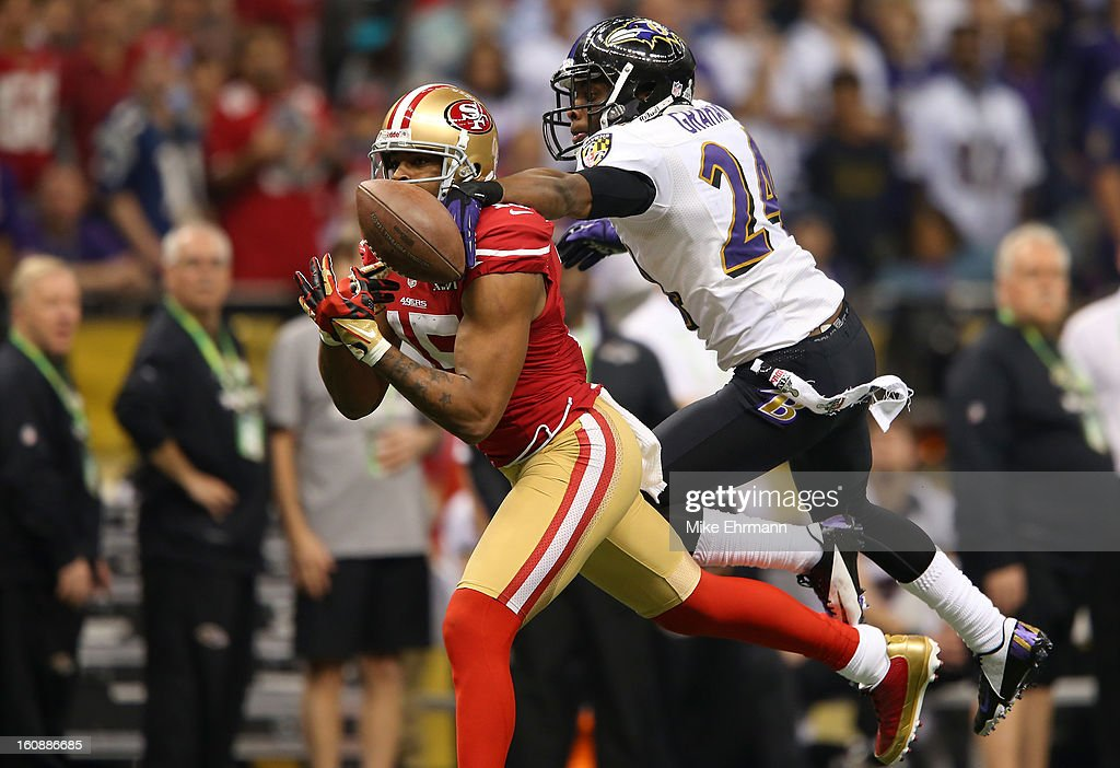 Corey Graham #24 of the Baltimore Ravens breaks up a pass inteded for Michael Crabtree #15 of the San Francisco 49ers during Super Bowl XLVII at the Mercedes-Benz Superdome on February 3, 2013 in New Orleans, Louisiana. The Ravens won 34-31.