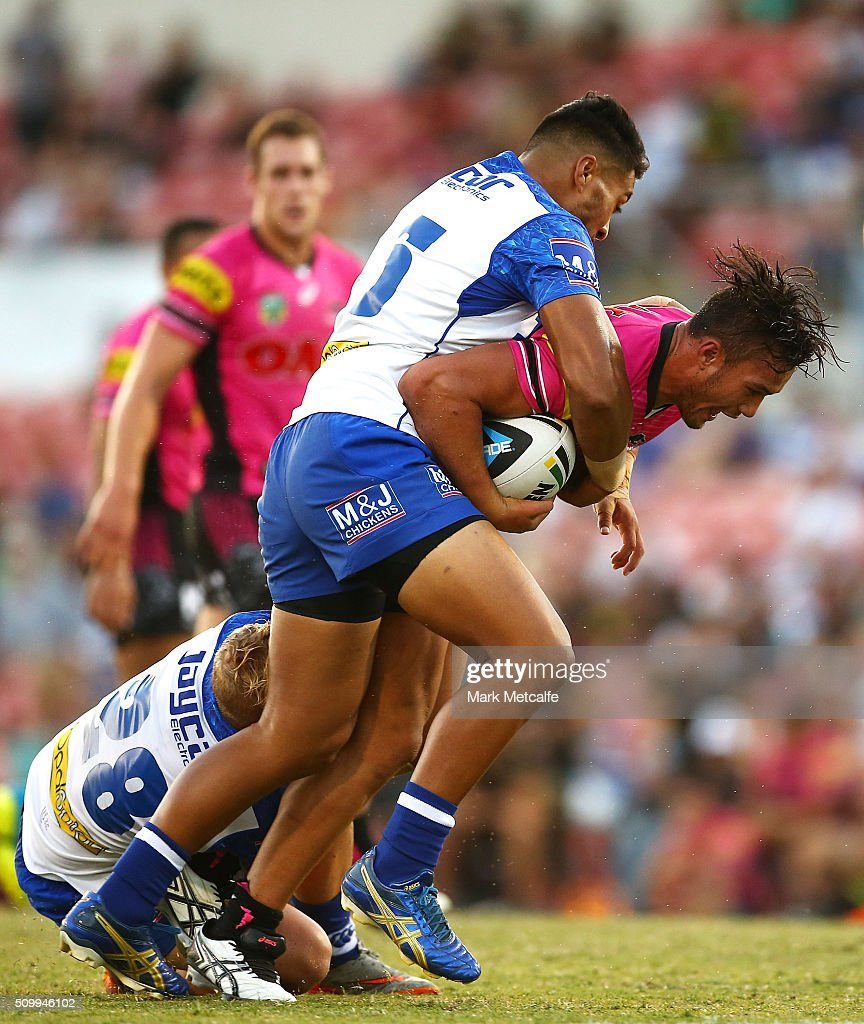 Corey Harawira-Naera of the Panthers is tackled during the NRL Trial match between the Canterbury Bulldogs and the Penrith Panthers at Pepper Stadium on February 13, 2016 in Sydney, Australia.
