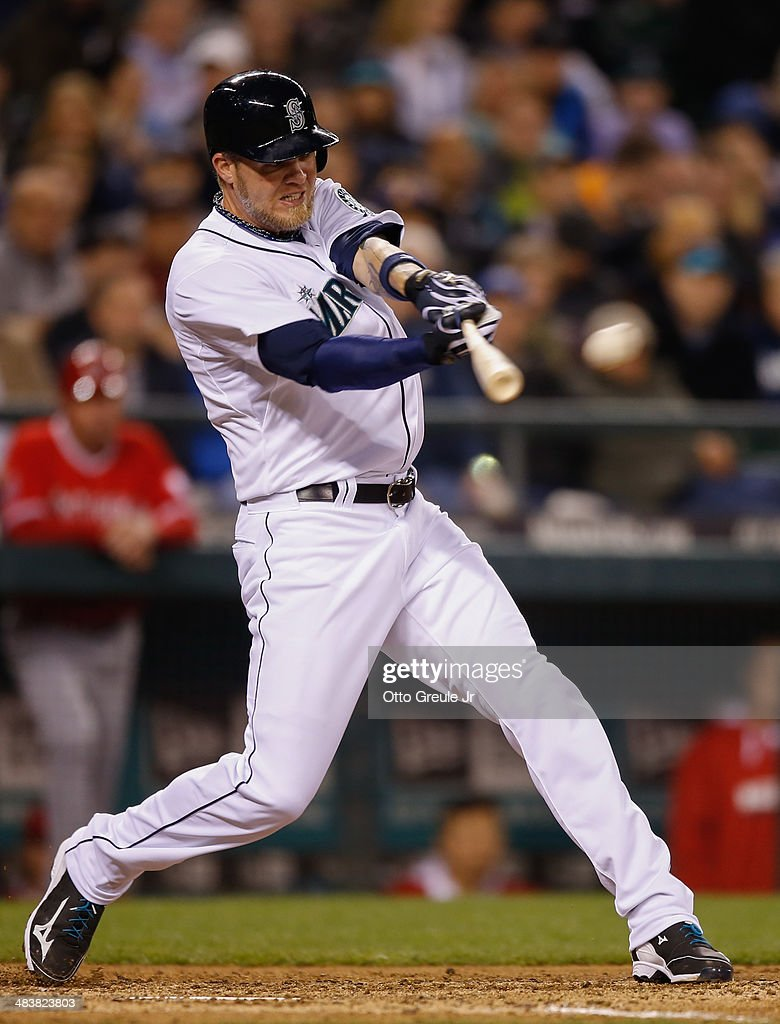 Corey Hart #27 of the Seattle Mariners bats against the Los Angeles Angels of Anaheim on Opening Day at Safeco Field on April 8, 2014 in Seattle, Washington.