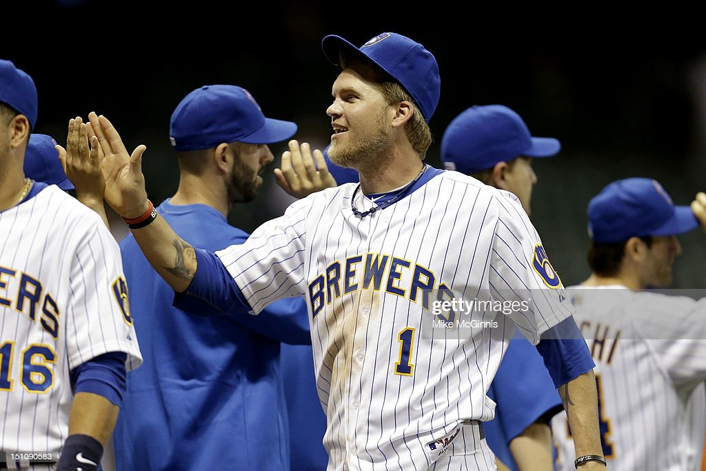 Corey Hart #1of the Milwaukee Brewers celebrates after A 9-3 win over the Pittsburgh Pirates at Miller Park on August 31, 2012 in Milwaukee, Wisconsin.
