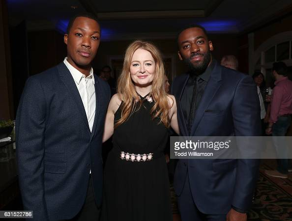 Corey Hawkins Miranda Otto and Ashley Thomas attend the 2017 Winter TCA Tour FOX AllStar Party at Langham Hotel on January 11 2017 in Pasadena...